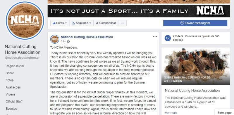 NCHA Super Stakes de Apartação pode ser cancelado