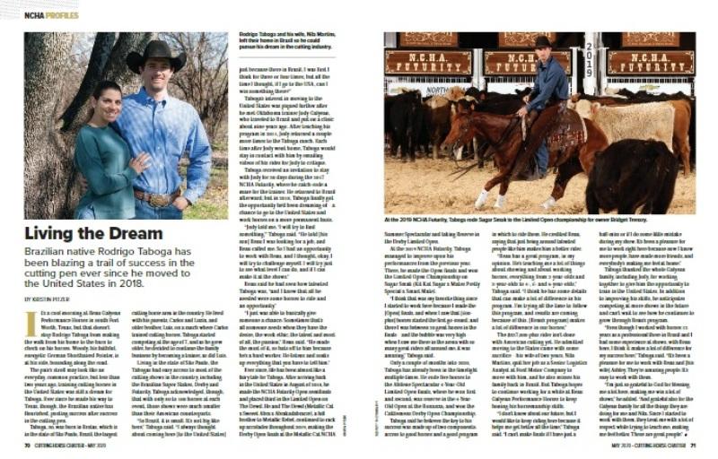 Trajetória de Rodrigo Taboga é destaque em publicação internacional Brasileiro teve sua história contada no NCHA Cutting Horse Chatter de maio de 2020